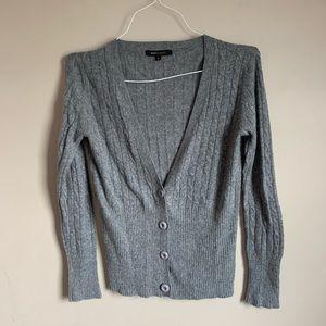 🌈 BCBG Max Azria size small Gray v neck cardigan